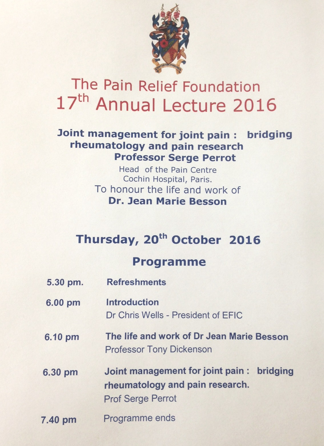 Pain Relief Foundation 17th Annual Lecture 2016 The Pain Relief